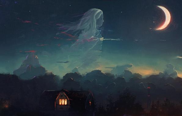 Картинка лес, небо, девушка, облака, ночь, дом, луна, полумесяц