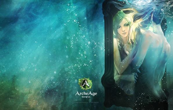 Картинка отражение, эльф, игра, зеркало, арт, girl, game, online, art, reflection, mmorpg, Elf, mirror, мморпг, archeage
