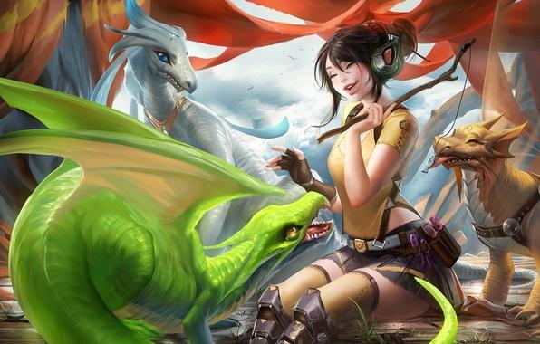 Картинка девушка, эмоции, игра, смех, рыбка, драконы, наушники, арт, палочка, лакомство, sakimichan