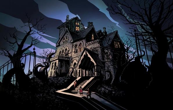Картинка деревья, ветки, дом, люди, лестница, мрачно, хоррор, Horror