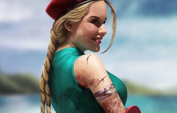 Картинка девушка, кровь, арт, коса, солнечно, Cammy, раны, Street Fighter