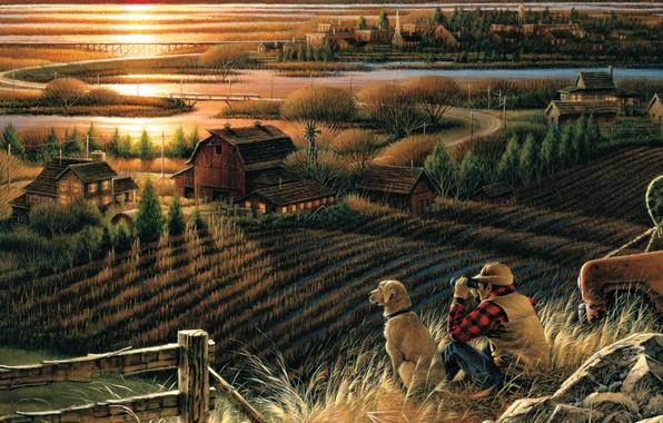 Картинка поле, осень, закат, мост, река, дома, собака, вечер, бинокль, живопись, перелетные птицы, Best Friends, Terry …