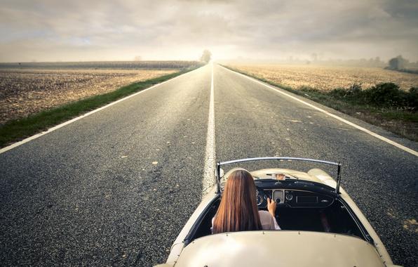 Картинка дорога, девушка, пейзаж, природа, автомобиль, путешествие