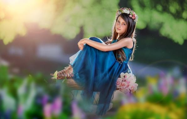 Картинка взгляд, цветы, платье, девочка, венок, боке