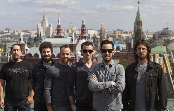 Картинка Небо, Город, Рок, Группа, Linkin Park, Альтернативный рок, Ню-метал, Рэпкор