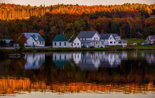 Картинка осень, лес, пейзаж, природа, озеро, отражение, дома