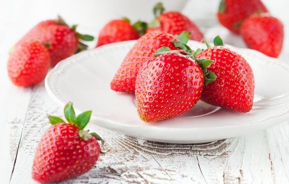Картинка ягоды, клубника, тарелка, red, красная, fresh, спелая, sweet, strawberry, berries