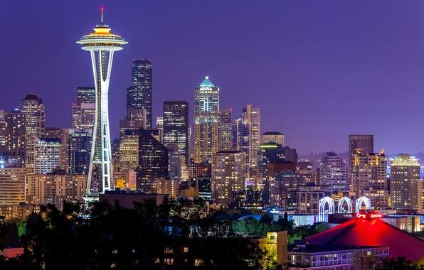 Картинка небо, ночь, city, город, lights, огни, Вашингтон, Сиэтл, USA, США, Space Needle, sky, night, Washington, …