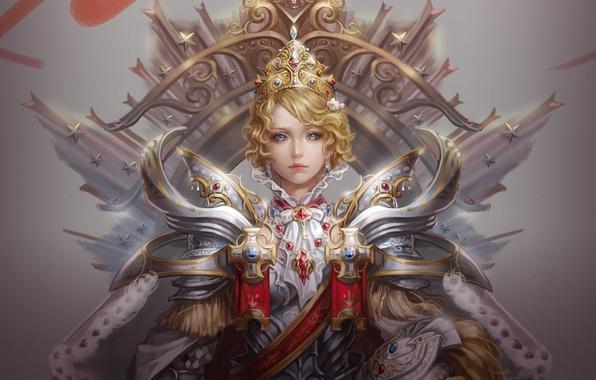 Картинка девушка, кресты, корона, арт, шлем, звездочки, королева, доспех