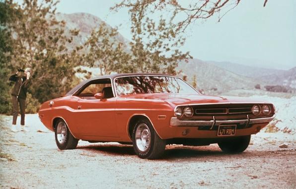 Картинка машина, 1971, Dodge, Challenger, мускул-кар, передок, красавец