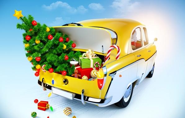 Картинка снег, украшения, шары, игрушки, елка, куклы, подарки, сладости, Новый год, такси, new year, balls, toy, …