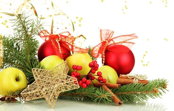 Картинка шарики, ягоды, шары, яблоки, игрушки, звезда, ель, ветка, палочки, Новый Год, зеленые, Рождество, красные, ёлка, …