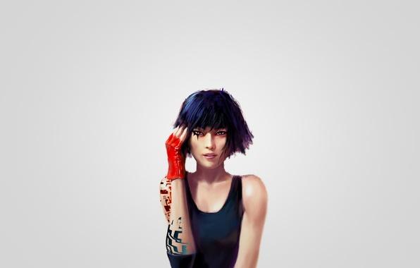 Картинка девушка, арт, Mirror's Edge, Фэйт, Faith, красная перчатка, Зеркальная грань