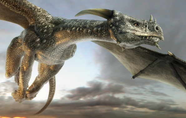 Картинка небо, взгляд, морда, облака, полет, дракон, крылья, арт, рога