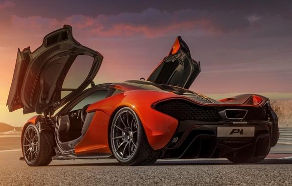 Картинка Concept, оранжевый, фон, McLaren, двери, концепт, суперкар, вид сзади, МакЛарен