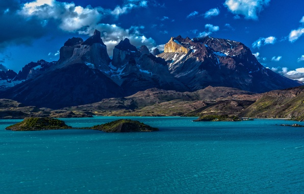 Картинка небо, вода, острова, снег, горы, Nature, Чили, Chile, Patagonia, Патагония, облака.