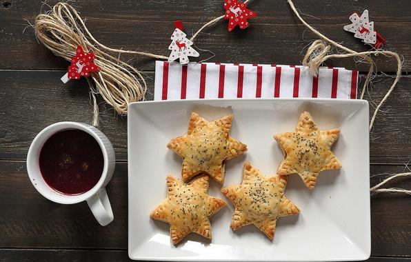 Картинка звезды, стол, мак, печенье, чашка, напиток, звездочки, выпечка, новогоднее