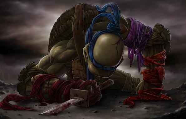 Картинка кровь, меч, катана, слезы, teenage mutant ninja turtles, TMNT, Leonardo, Леонардо, черепашки ниндзя