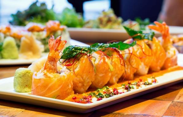 Картинка водоросли, рыба, рис, суши, роллы, креветки, японская кухня, приправа