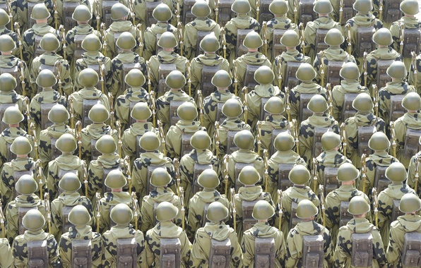 Картинка праздник, день победы, солдаты, строй, ряды, красная площадь, 9 Мая
