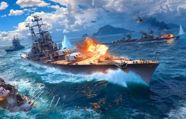 Картинка Небо, Вода, Облака, Горы, Волны, Дым, Самолеты, Огонь, Корабль, Искры, Корабли, Пламя, Выстрел, Крейсер, Wargaming …