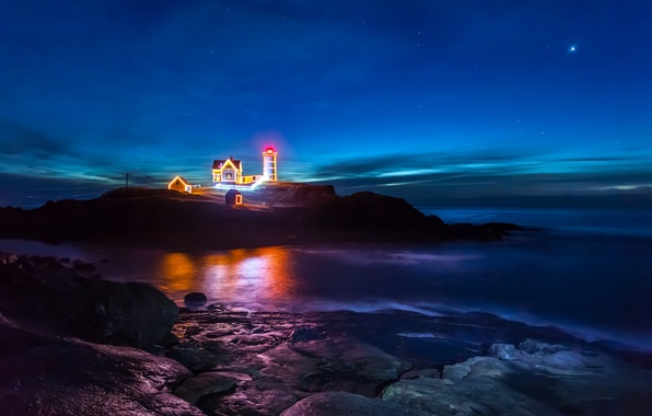 Картинка море, небо, звезды, ночь, отражение, скалы, маяк, зеркало, линии электропередачи, свет рождества