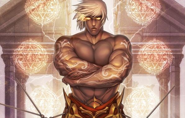 Картинка взгляд, магия, тату, маг, мужчина, белые волосы, art, мускулы