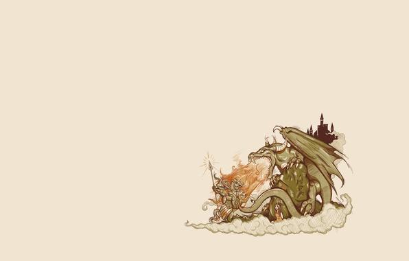 Фото обои дракон, рыцарь, девушка, фон, сказка, замок