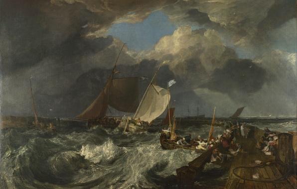 Картинка море, небо, тучи, шторм, люди, лодка, корабль, картина, парус, морской пейзаж, Уильям Тёрнер, Пирс в …