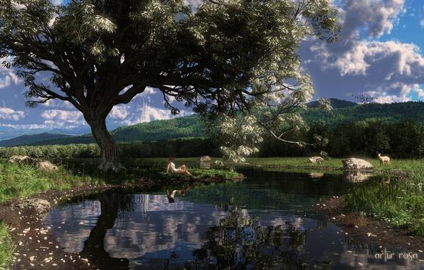 Картинка вода, девушка, озеро, пруд, камни, дерево, олень, арт, лань
