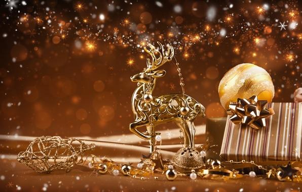 Картинка украшения, lights, огни, новый год, new year, decoration, ornaments, Reindeer, Золотое рождество, северные олени, Golden …