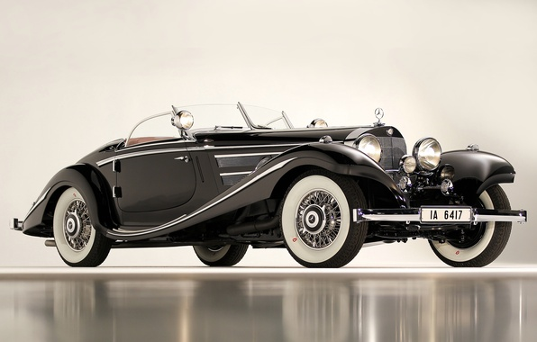 Картинка черный, автомобили, Merсedes, 540K, Special Roadster, 1936, классические