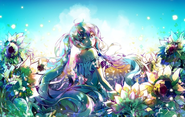 Картинка небо, девушка, солнце, облака, цветы, улыбка, аниме, арт, vocaloid, hatsune miku, ottmi