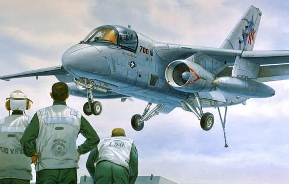 Картинка самолет, посадка, Lockheed, палубный, противолодочный, Viking, S-3