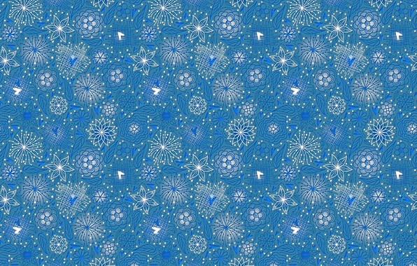 Картинка линии, цветы, голубой, узор