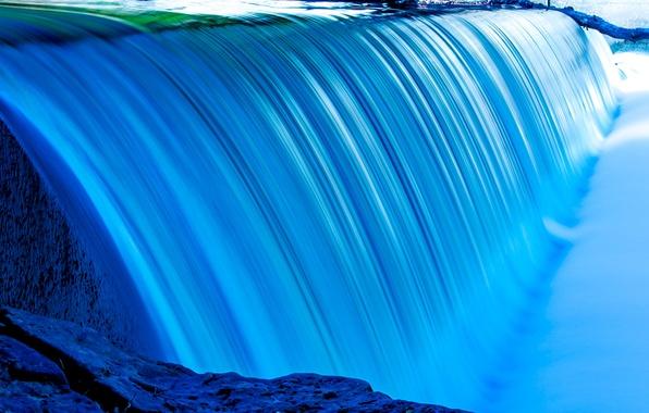 Картинка вода, краски, водопад, поток, каскад