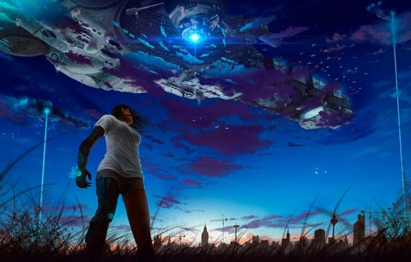 Картинка девушка, звезды, ночь, металл, город, робот, корабли, луч, арт, андроид