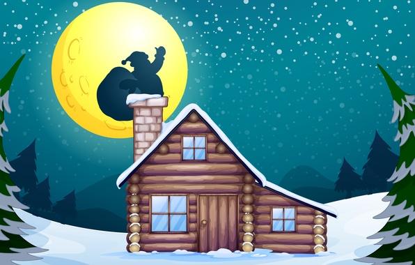 Картинка снег, дом, дерево, луна, vector, графика, новый год, рождество, вектор, moon, камин, house, christmas, new …