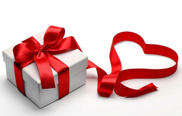 Картинка подарок, сердце, лента, love, бант, box, heart, romantic, Valentine's day, gift