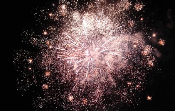Картинка небо, ночь, огни, праздник, салют, фейерверк