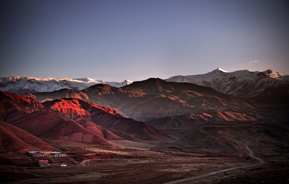 Картинка дорога, горы, домики, Иран, Аламут