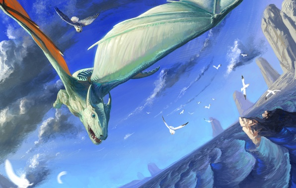 Картинка море, полет, скалы, сова, птица, дракон, чайки, крылья