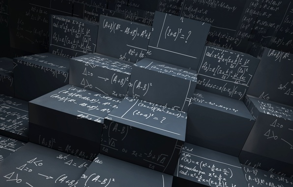 Картинка наука, геометрия, архитектура, математика, кубизм, статистика, уравнения, Cubism equation