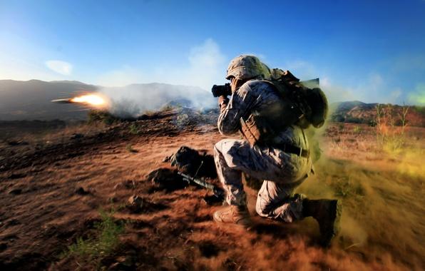 Картинка оружие, армия, выстрел, солдат