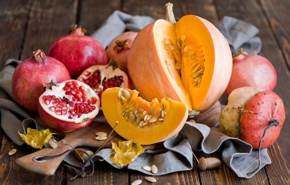 Картинка осень, листья, тыква, фрукты, натюрморт, овощи, гранаты, Anna Verdina