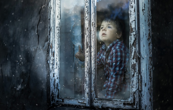 Картинка снег, дом, мальчик, окно, First snow