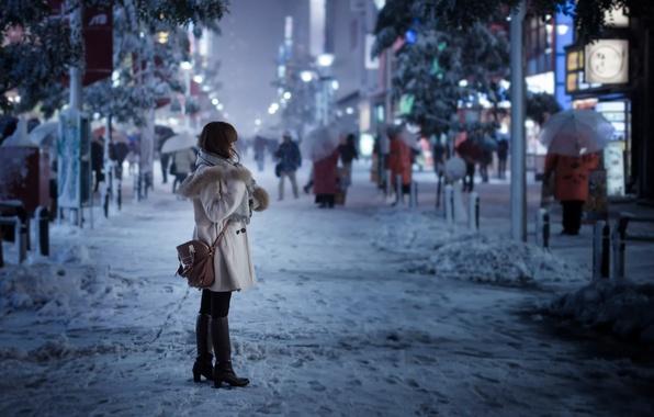 Картинка девушка, снег, город, улица, Токио, Snowy day