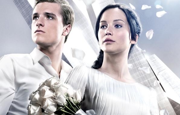 Картинка девушка, фильм, розы, актриса, актер, парень, Jennifer Lawrence, Дженнифер Лоуренс, Голодные игры, И вспыхнет пламя, …