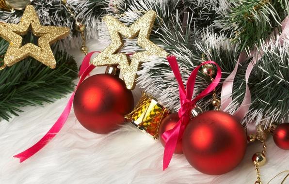 Картинка украшения, шары, звезда, елка, новый год, лента, мишура, бантик, барабан, праздники, новогодние