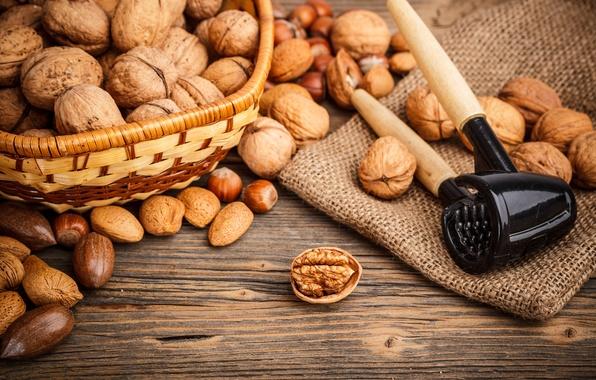 Картинка орехи, корзинка, миндаль, лесные, грецкие, орехокол